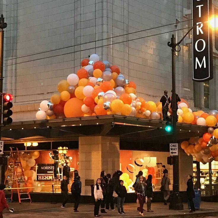 "NORDSTROM, Seattle, Washington, ""Balloon fun for HERMES window install"", pinned by Ton van der Veer"