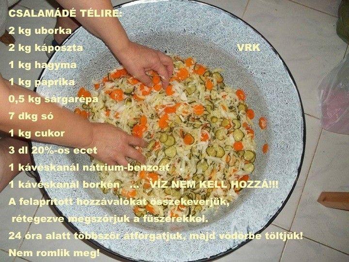 Csalamádéreceptje Hozzávalók:2 kg uborka2 kg káposzta1 kg hagyma1 kg…
