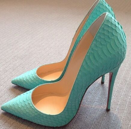 2016 Hot Selling Pointed Toe Stiletto Heels Sexy Red Bottom High Heels Shoes Designer Woman Pumps Sky Blue Real Photo alishoppbrasil