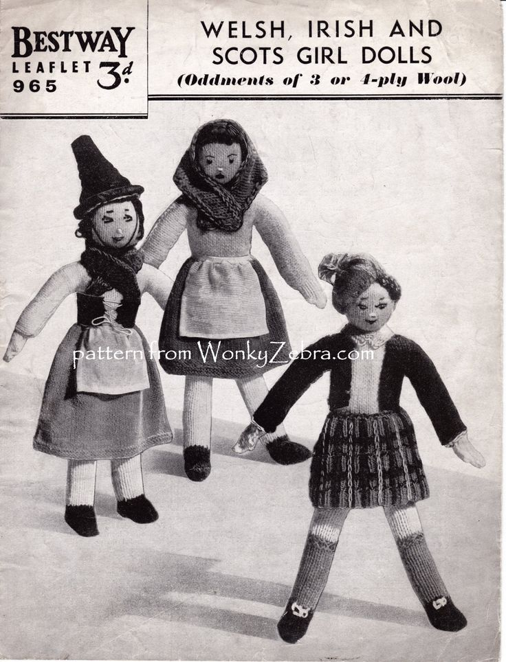 Vintage Bestway 965 pattern for a doll and national costumes. Clothing from Scotland, Ireland and Wales. pattern PDF from WonkyZebra WZ573