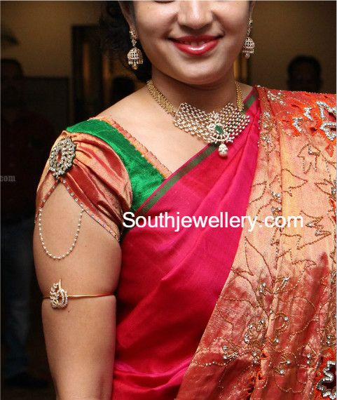 Simple Diamond Necklace and Jhumkas