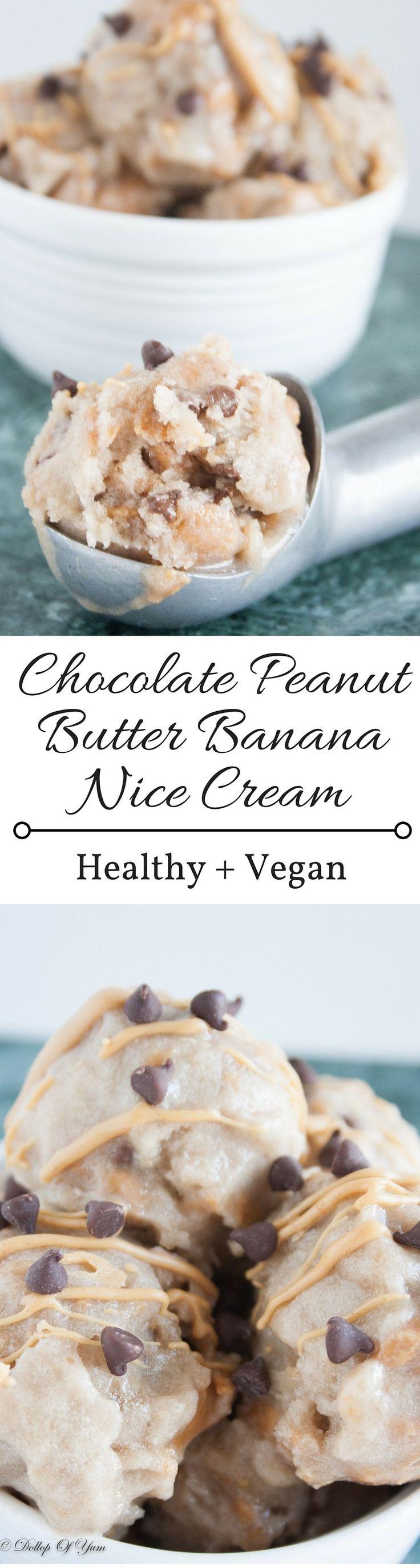 Chocolate Peanut Butter Banana Nice Cream. A decadent dessert that is healthy, vegan, gluten free, and dairy free!