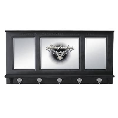 Find Genuine Hotrod Hardware® Harley-Davidson® Pub Mirrors HDL-10728 and get Free Standard Shipping on orders over $99 at Summit Racing!  Hang your jacket in distinctive style with these 36 in. wide x 18 in. high wooden Harley-Davidson® pub mirrors from Genuine Hotrod Hardware®.  Features include:  * 5 heavy-duty cast zinc Bar & Shield jacket hooks * Bold eagle graphics on the center mirror panel * Custom-routed accents and lettering on the frame * 3 1/2 in. deep display shelf * Black…