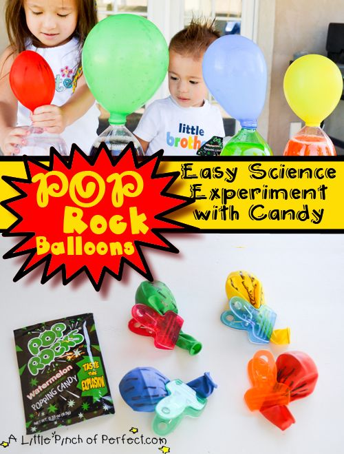 Pop Rock Balloons: Easy Science Experiment for Kids-it involves candy, balloons, and soda-the perfect kid pleasing combination!