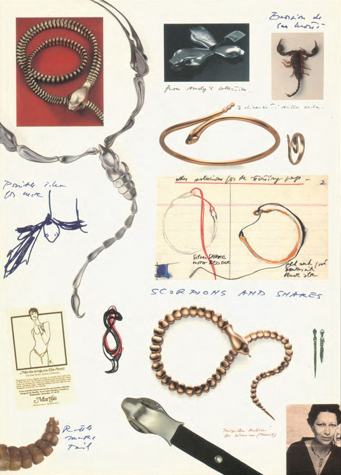 """Elsa Peretti's idea for Snake came from a rattlesnake tail given to her by a Texan as a good luck charm. """"I thought Americans had to be brave, having these kinds of snakes in their backyards"""""""