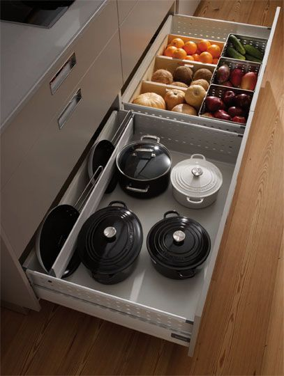 SANTOS kitchen | Third level is used for storing pots, pans and other large kitchen utensils. #kitchen #pot #fruit