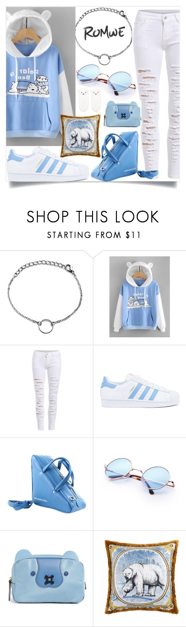 """""""Polar bear Hoodie"""" by tlb0318 on Polyvore featuring adidas, Balenciaga, Anya Hindmarch, Versace and Forever 21"""