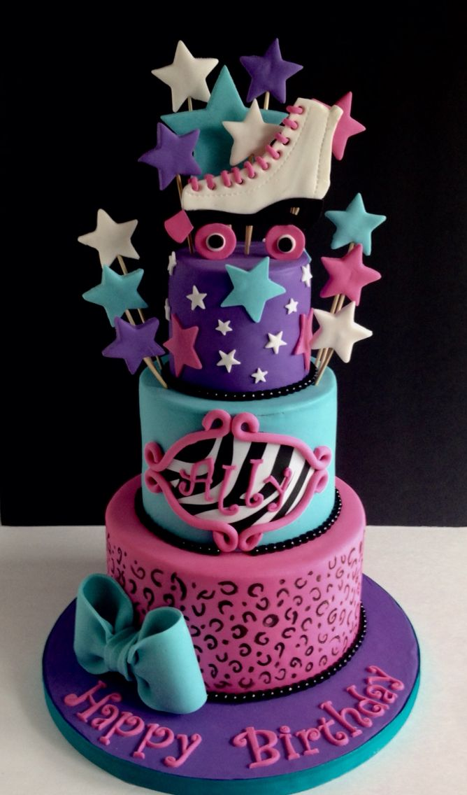 Animal print & roller skate cake