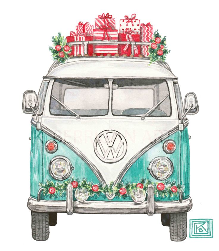 Christmas VW, Christmas volkswagen, greeting cards, classic car inspiration, k. Berrigan art, etsy KBerriganArt