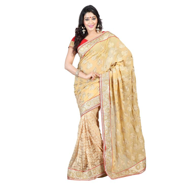 BEIGE RASAL NET SAREE WITH MATCHING BLOUSE For order just contact: Mail: buy@textilesell.com WhatsApp no: +919898567053 ‪#‎Sari‬ ‪#‎Saree‬ ‪#‎Traditional‬
