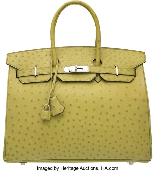 Hermes 35cm Vert Anis Ostrich Birkin Bag with Palladium Hardware.I Square, 2005. Very Good to Excellent Condition. ...