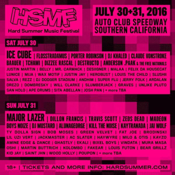 Official 2016 Hard Summer festival lineup #FESTGOALS