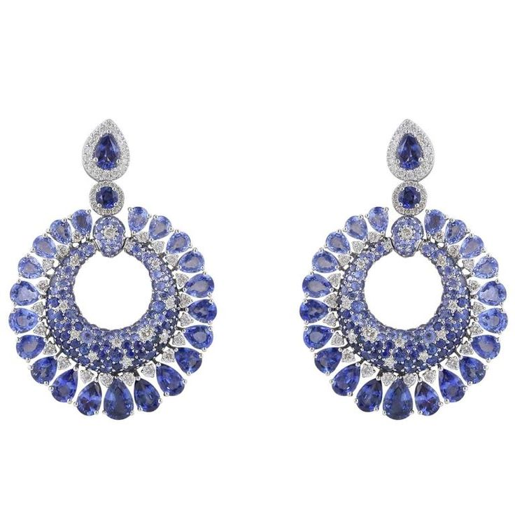 23.41 Carat Sapphire and Diamond Earrings  | From a unique collection of vintage chandelier earrings at https://www.1stdibs.com/jewelry/earrings/chandelier-earrings/