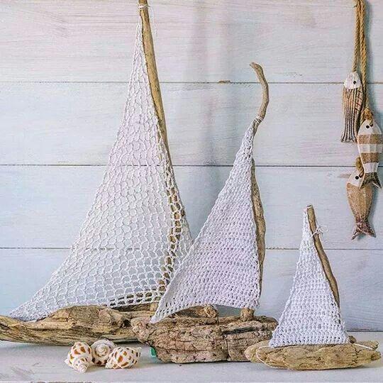 Sailboats, Crochet & driftwood.