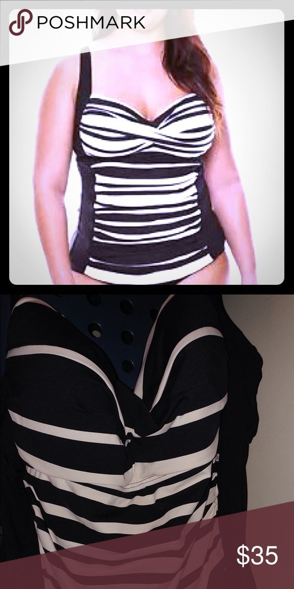 Tankini swim top Brand new Plus sized Chelsea Sweetheart swim top with black and cream stripes. NWOT Liz Claiborne Swim