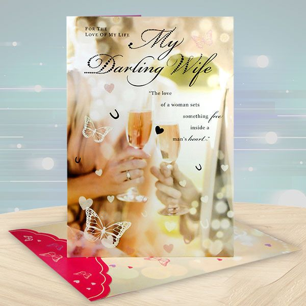 Happy Birthday My Wifey Card. For The Love Of My Life My Darling Wife..The love of woman sets something five inside a man's heart..you are the miracle that has surprised my heart.made every dream possible and my life happy and complete.Happy Birthday To My One And Only… | Rs. 224 | Shop Now | Card Size : Height :36 cm X Length : 24 cm. | https://hallmarkcards.co.in/collections/shop-all/products/birthday-wishes-for-wife