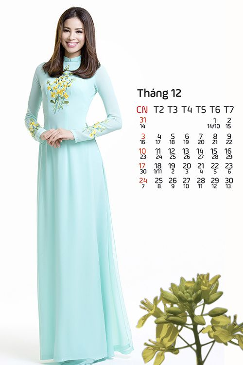 12 mỹ nhân Việt mặc áo dài thêu hoa trong ảnh lịch