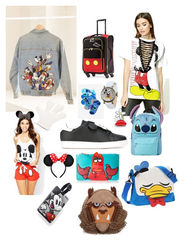 """Disney OOTD"" by valerie-sofia-delgado on Polyvore featuring MOA Master of Arts, Forever 21, Urban Renewal, Disney, Christopher Ræburn y American Tourister"