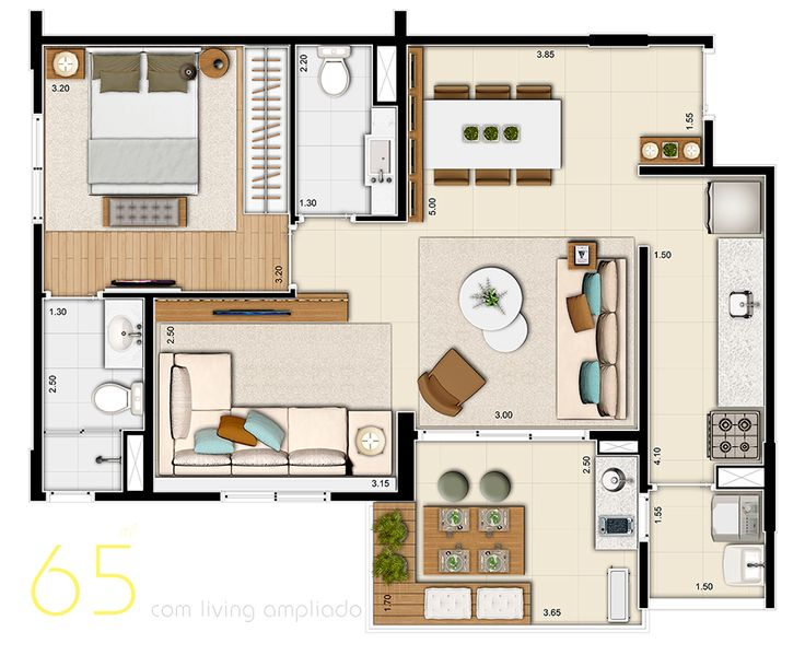 Layout apartamento 65mts living ampliado