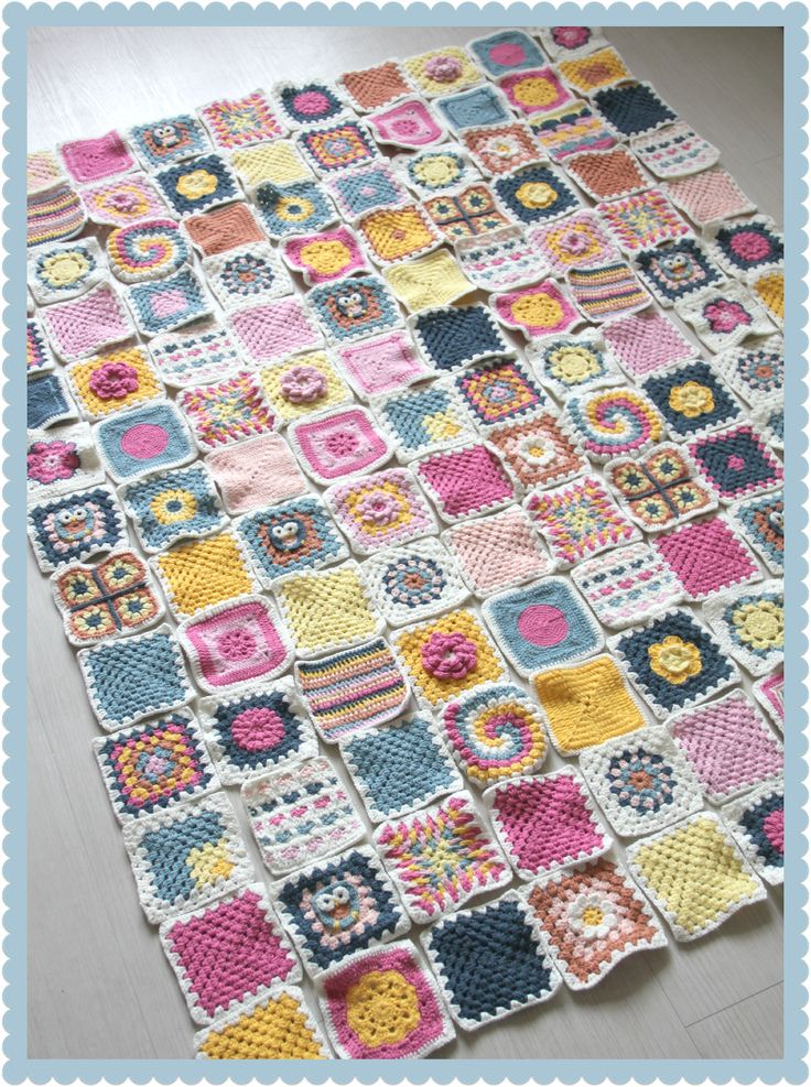 Granny square challenge - the final layout. This is what crochet really means to me, using lots of odd scraps of wool to make 100s of small squares that are simply joined together at the end. The patterns for all these squares are here for free. Thanks so much, for the memories.