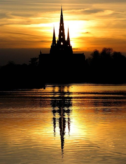 Lichfield Cathedral, UK 3 spires: Hogwarts, Church, Lichfield Cathedraluk, Lichfield Cathedrals Uk, England Sunsets, Silhouette, Cathedrals Sunsets, Places, Sunrise