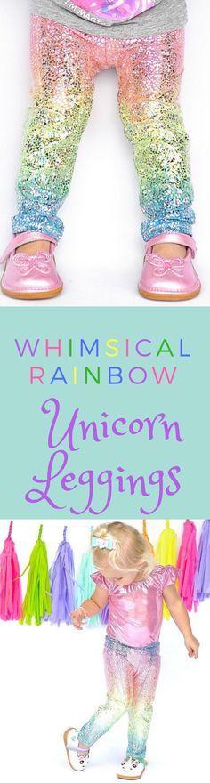 Unicorn leggings- baby girl leggings- toddler leggings- kids leggings- metallic, sparkly holographic leggings- whimsical rainbow leggings #etsy #affiliate