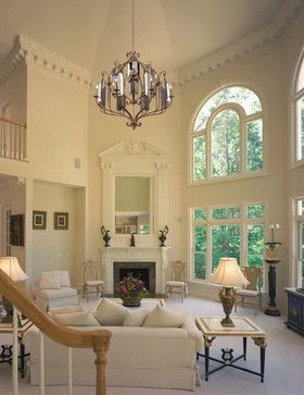 Living room chandelier design ideas pictures remodel - Living room ideas with high ceilings ...