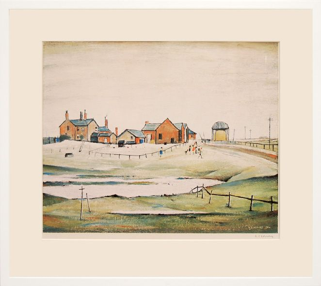 LOWRY L. S. - Landscape with Farm Buildings - Edition of 850. Signed in pencil lower right by L. S. Lowry. Fine Art Trade Guild blindstamp lower left.