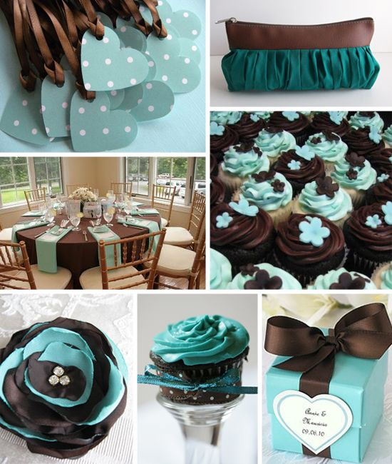 119 best images about teal weddings on pinterest - Bathroom color schemes brown and teal ...