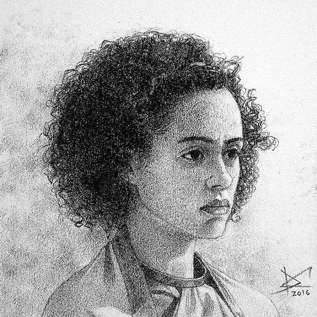 She is beautiful and I didn't know how to represent it precisely on my drawing, haha. It was the biggest challenge until now... I have a lot to learn. #drawing #fanart #gameofthrones #missandei #nathalieemmanuel