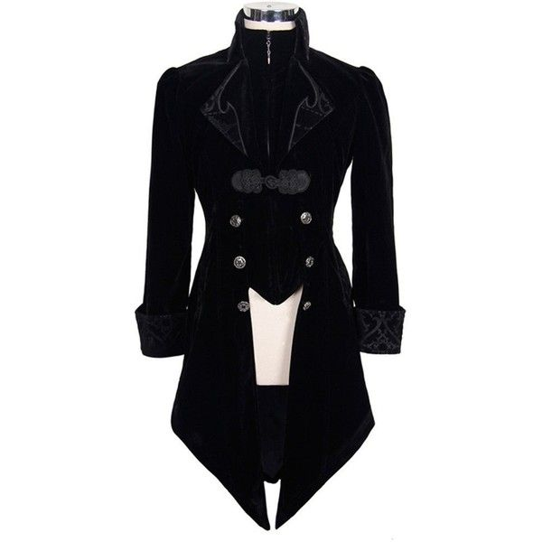 Steampunk Men's Swallow Tail Coat Gothic Winter Jacket (13 AUD) ❤ liked on Polyvore featuring men's fashion, men's clothing, men's outerwear, men's jackets, mens gothic jacket, mens jackets and mens steampunk jacket