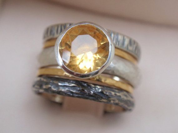 engagement ring wedding band set of 5 stacking ring - 14k yellow gold bands - 7mm citrine gemstone ring - sterling silver - made to order