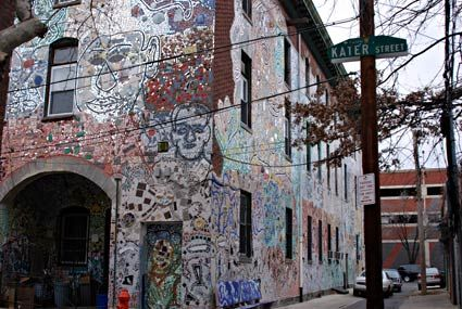 Still clinging to life despite many eviction attempts are these incredible mosaics of South Street in Philadelphia.