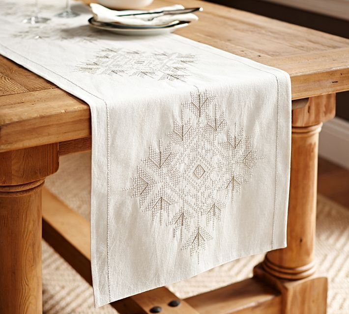 Snowflake Embroidered Table Runner · Pottery Barn ...