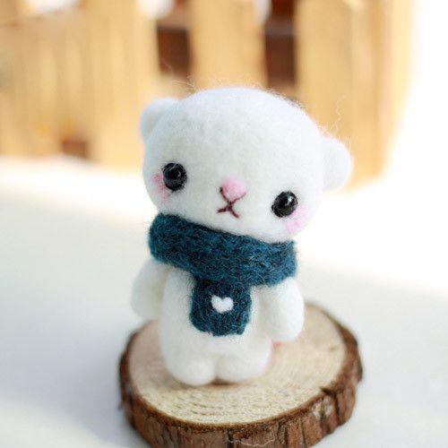 Needle Felted Felting Animals Bear Scarf Cute Craft