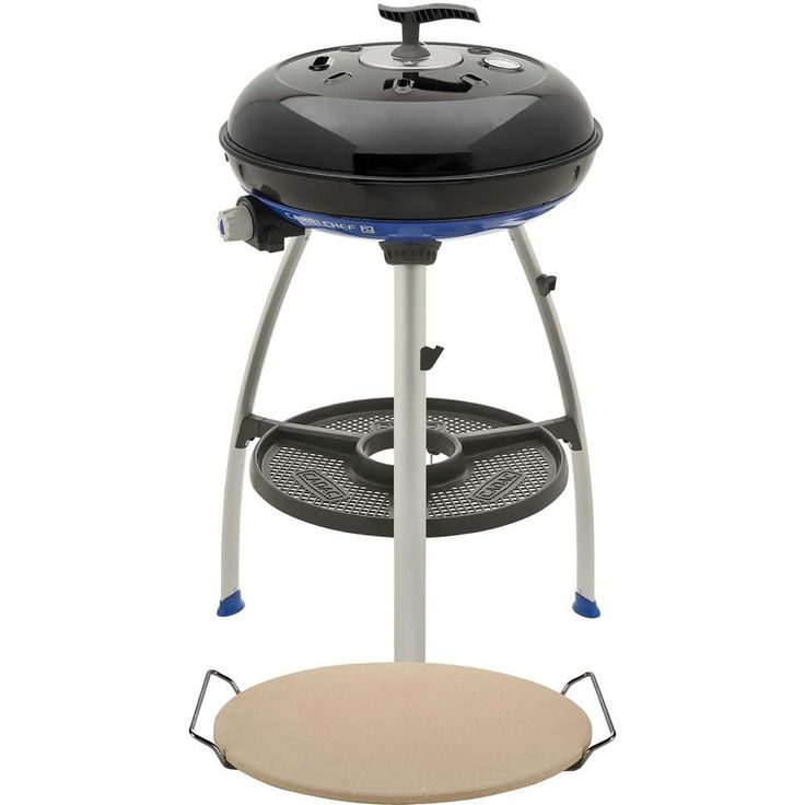 Cadac Carri Chef 2 Portable Propane Gas Grill in Black with with Pot Ring, Pizza Stone, and Grill Plate