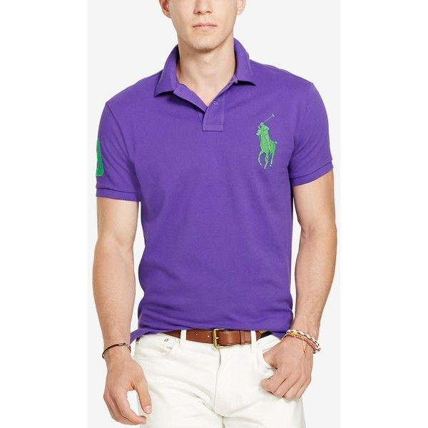 Polo Ralph Lauren Men's Custom-Fit Big Pony Mesh Polo Shirt ($60) ❤ liked on Polyvore featuring men's fashion, men's clothing, cabana purple, polo ralph lauren mens clothing, mens clothing and men's apparel