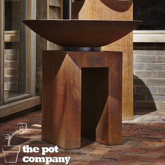 Corten Steel fire Pit and U-Plinth
