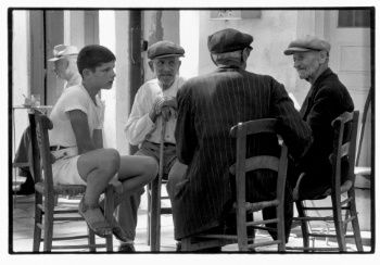 Boy at a cafe, Crete, Greece, 1964 - Greek America Foundation; Photograph by Constantine Manos, Magnum Photographer