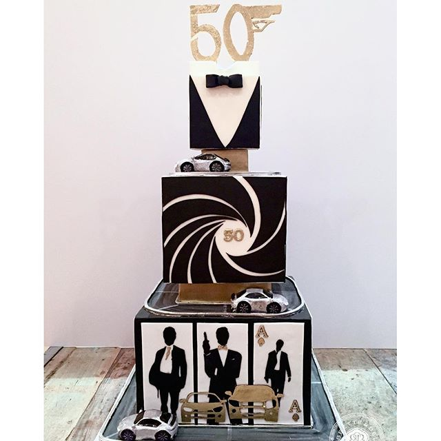 This super sleek and sexy cake was inspired by James Bond 007. #bobbetteandbelle #April_2016