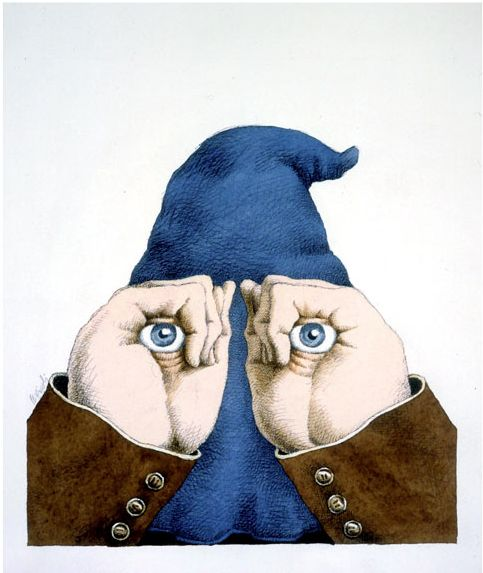 made by: Tullio Pericoli , 'Colpo d'occhio' (A glance) - watercolours and ink on paper