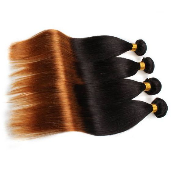 Ombre Silk Straight Human Hair Peruvian Straight Remy Hair Bundles 12-24inch In Stock