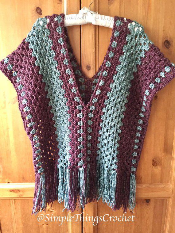 Simple Crochet Poncho pattern Easy crochet poncho top Granny   Etsy