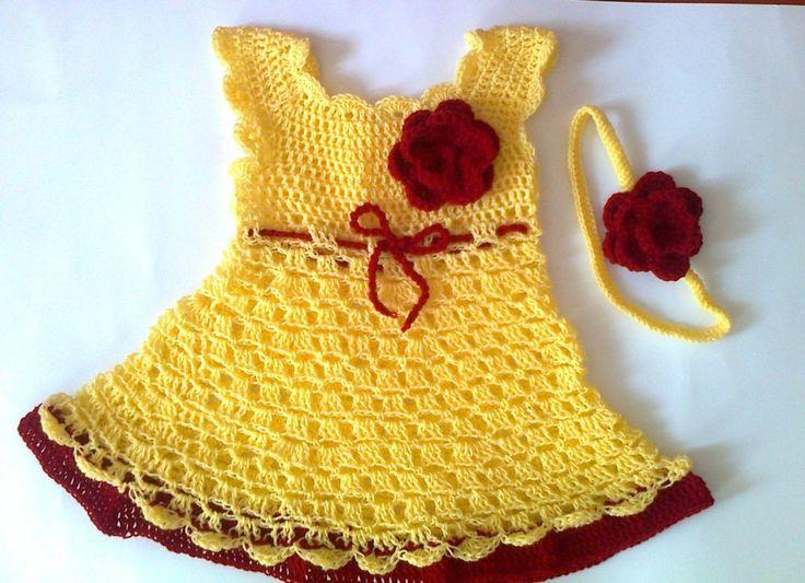Crochet baby dress, handmade yellow baby dress with red flower