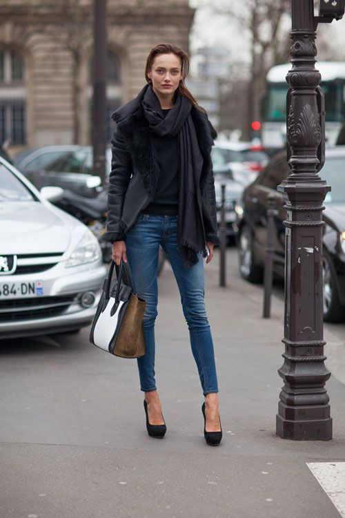 Denim & Leather look with a color-blocked Celine bag Street Style Paris #Fashion Week Fall 2013 #pfw