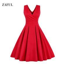 Zaful M-6XL Red Plus Size Vintage Dress Women Summer Autumn Sexy V-neck Sleeveless Elegant Rockabilly Slim Tunic Dress Vestidos(China (Mainland))