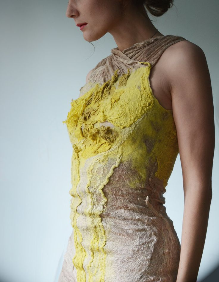 Eco fashion dresses  Nuno felted dress in nude and citrus yellow from natural silk and wool dyed with plants OOAK. $599.00, via Etsy.