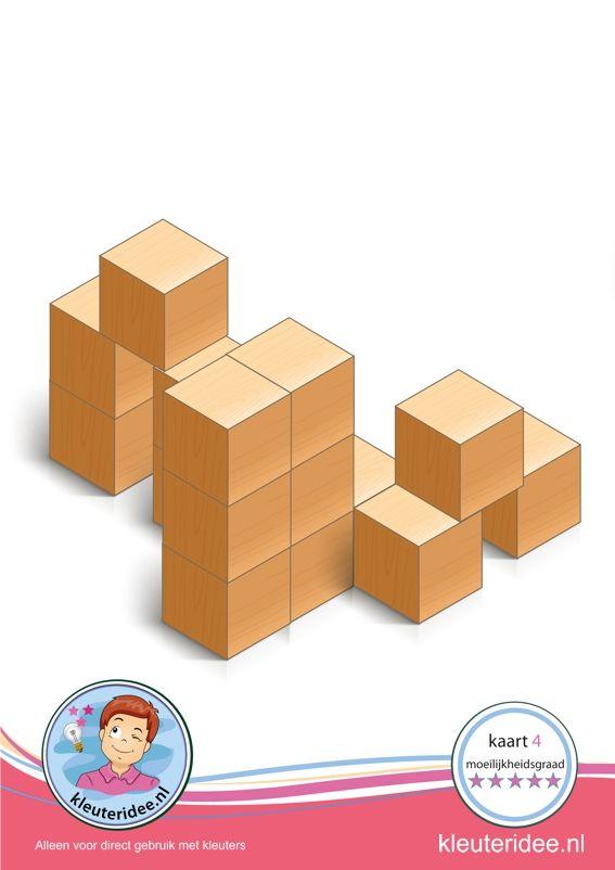 Bouwkaart 4 moeilijkheidsgraad 5 voor kleuters, kleuteridee, Preschool card building blocks with toddlers 10, difficulty 5, free printable.