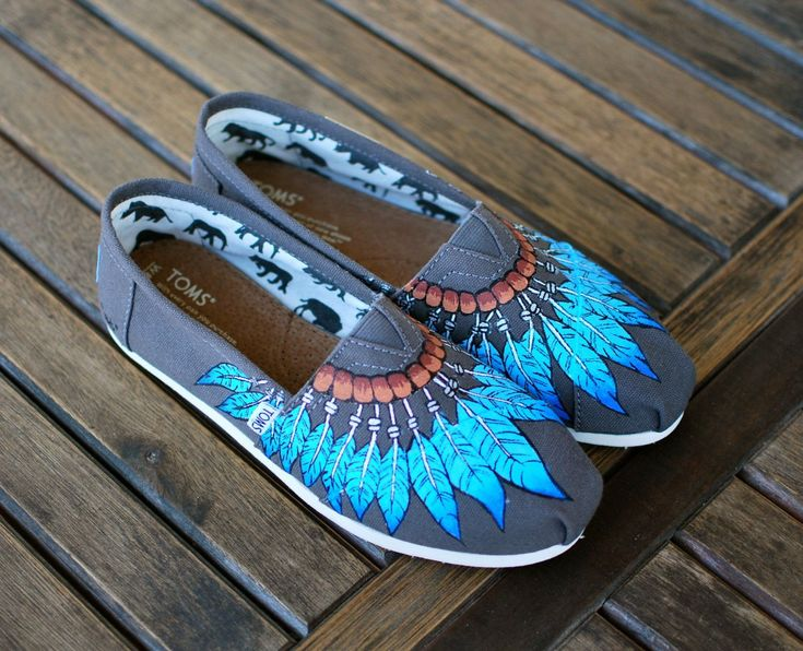 Hand Painted Blue Feather Moccasin Toms Ash Grey Canvas Classics - Customizable from bstreetshoes.com