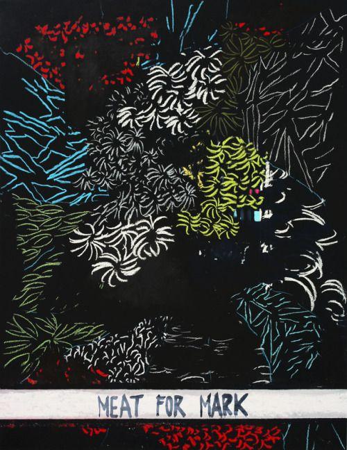 Eduardo Infante Meat for Mark. 2017. Tinta y pastel sobre papel. 70 x 50 cm.